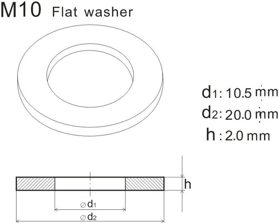 Ochoos M10x20x2.0 Flat Washers A2 Grade Stainless Steel Plain Washer Standard Metric Size 50pcs/lot