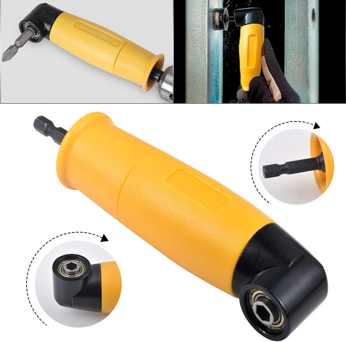 HOHXEN Right Angle Drill, 90 Degree Right Angle Driver Angle Extension Power Screwdriver Drill Attachment 1/4inch Hex Bit Socket Screwdriver Holder Adapter