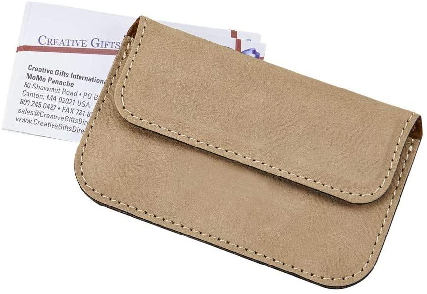 (D) Tan Card Case, Leatherette Business Card Holder Beige for 20 Cards