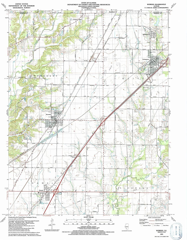 Map Print - Worden, Illinois (1991), 1:24000 Scale - 24