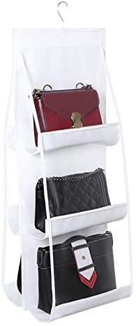 Love In The House Hanging Handbag Purse Organizer Household Wardrobe Closet Organizer Hanging Storage Bag 6 Large Storage Pockets (White, 36''x14''x14'')