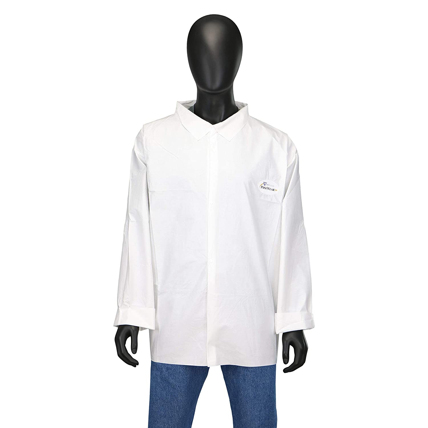 West Chester 3617 Postbag Microporous Shirt – XXX-Large White Work Wear Shirt with Snap Front Closure