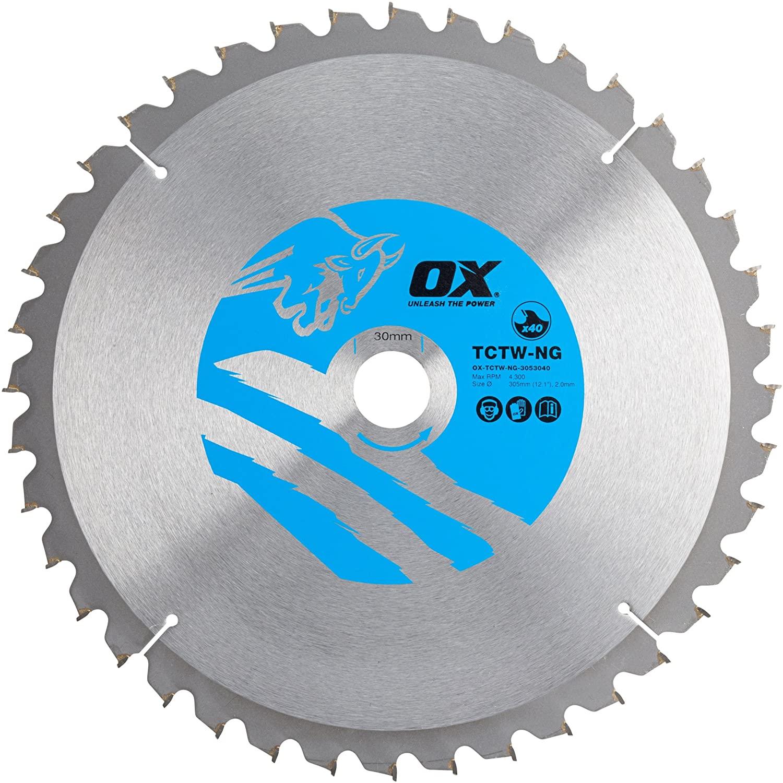 OX Wood Cutting Negative Rake Circular Saw Blade – 40 Teeth ATB Circular Cutting Disk - Silver/Blue Circular Blade - 305/30 mm
