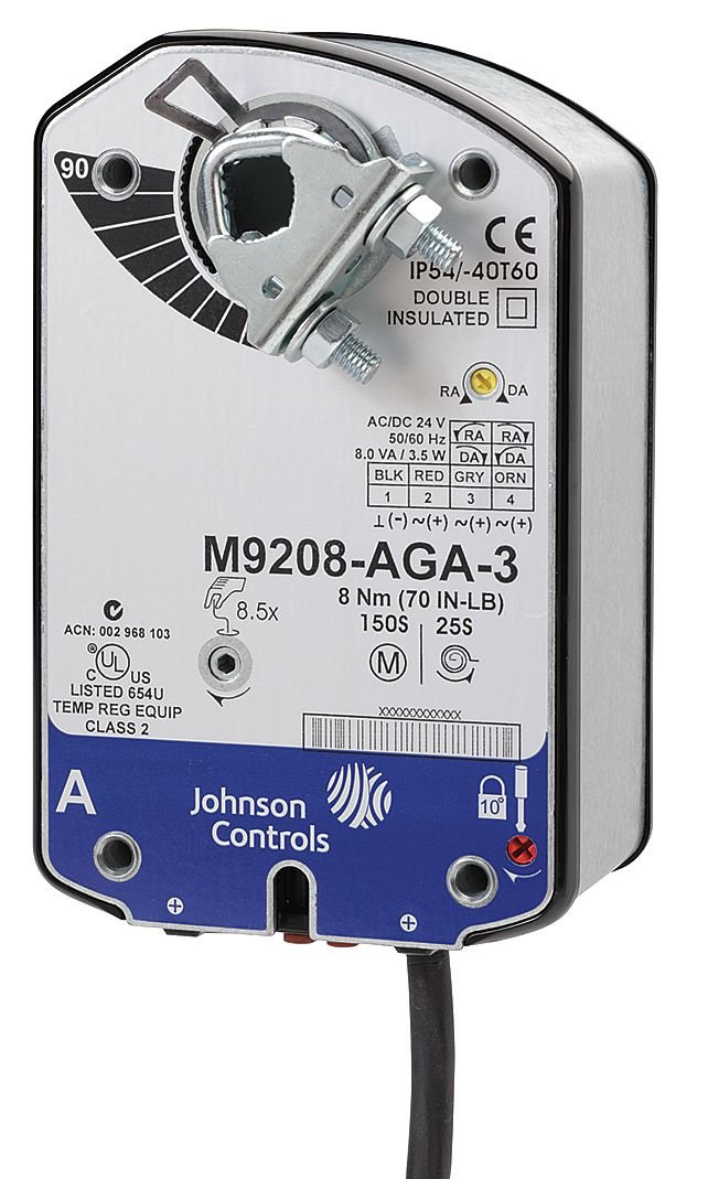 Johnson Controls M9208-BAA-3 Series M9208 Electric Spring-Return Damper Actuator, 55 to 71 sec Running Rotation Time, On/Off Input Signal, 48