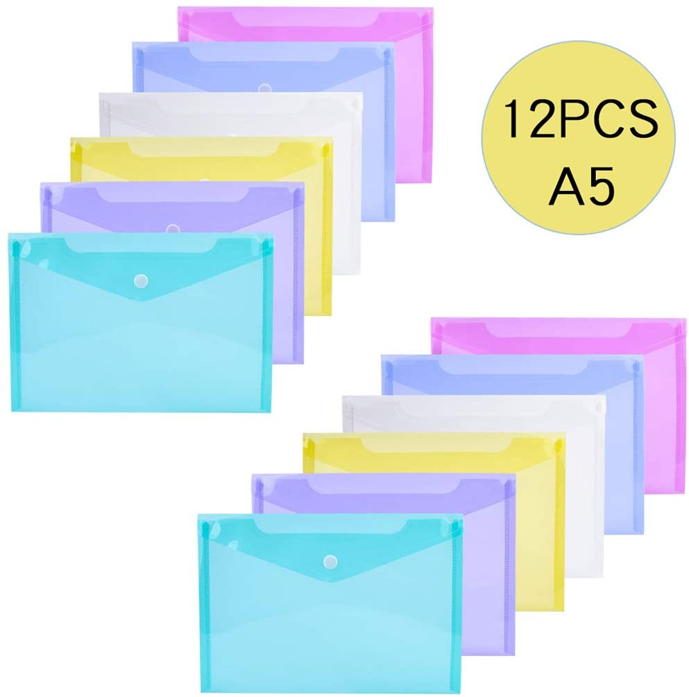 iSuperb File Bag 12 Pieces Clear Document Folder with Snap Button, Water Resistant Poly Envelope in 6 Assorted Colors