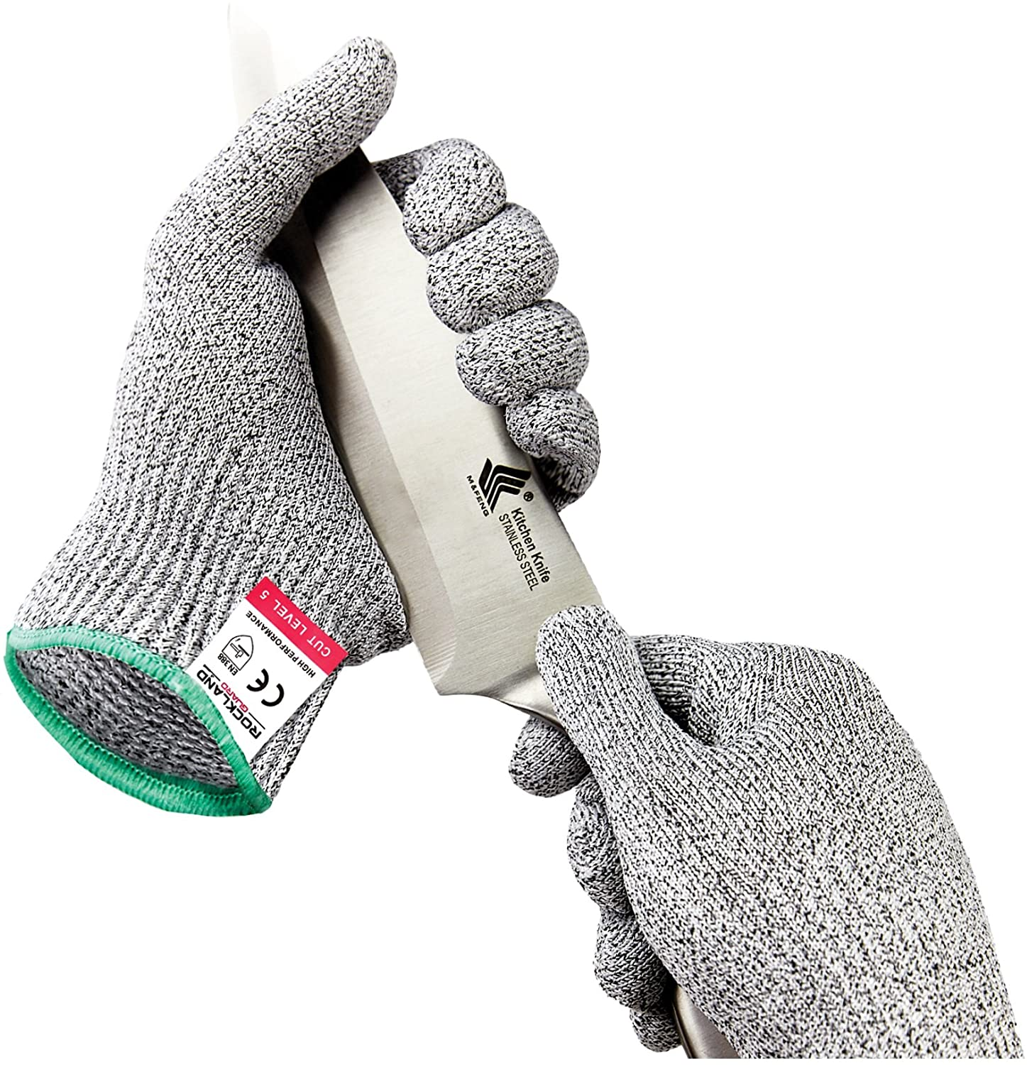 Rockland Guard Cry & Cut Resistant Gloves - High Performance Level 5 Protection, Food Grade. Size Medium, Free Storage Bag Included!
