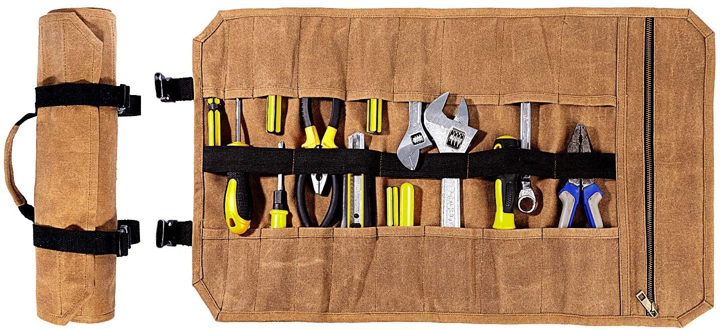 Heavy Duty Waxed Canvas Tool Roll, Sturdy And Waterproof (Khaki)