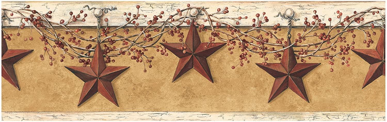 York Wallcoverings Best Of Country HK4663BD Hanging Star Border, Mustard/Cream