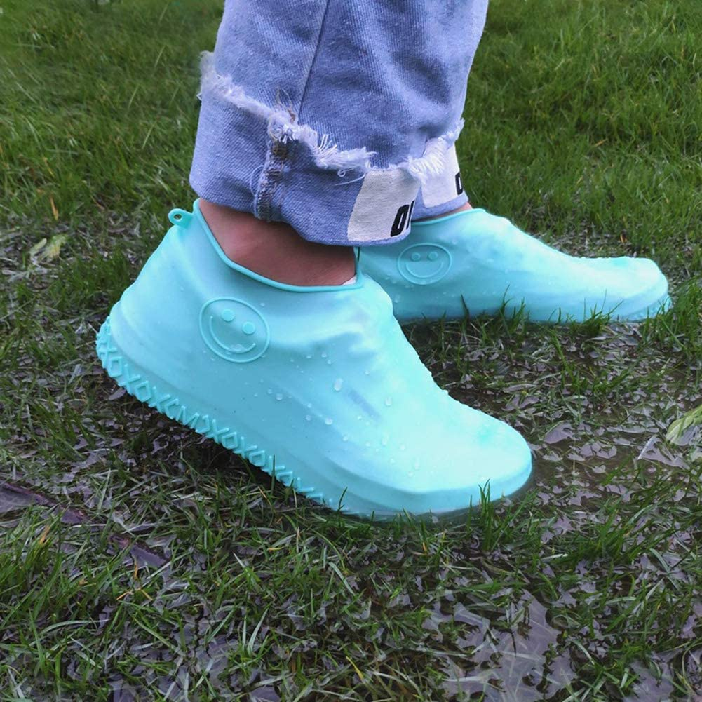 NEWBIT Waterproof silicone shoe covers Portable Reusable Non Slip Overshoes Galoshes for Rain Snow Outdoor Walking (M, Green)