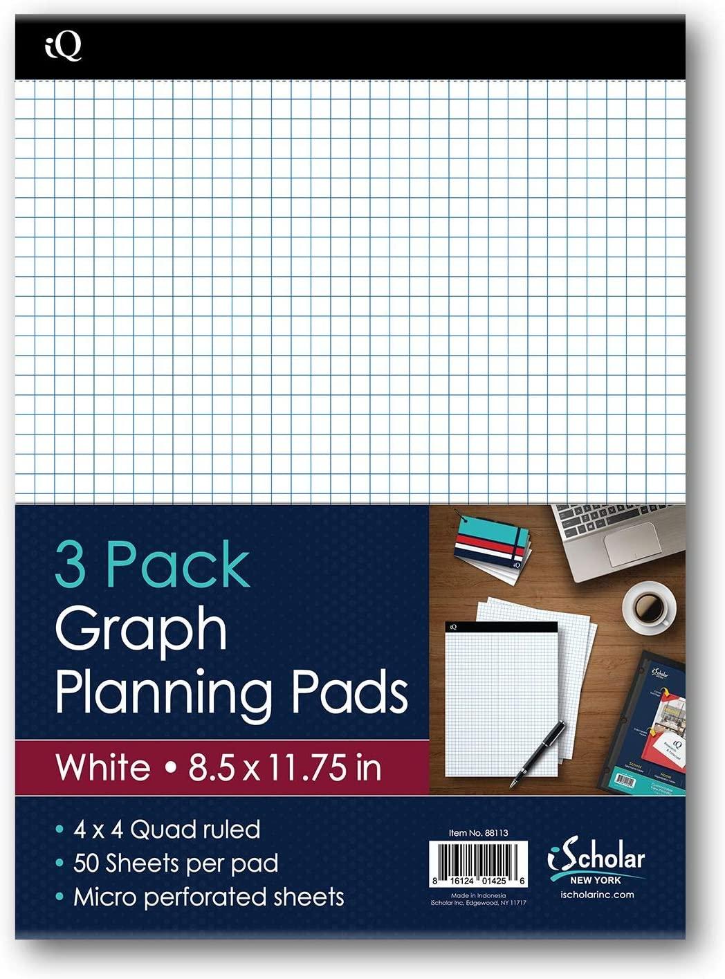 iScholar iQ Graph Planning Pads, 4 x 4 Quad Ruled, 8.5