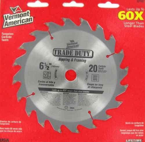 Vermont American 27167 6-1/2 inch 20 Teeth Trade Duty Series Carbide Tipped Circular Saw Blades