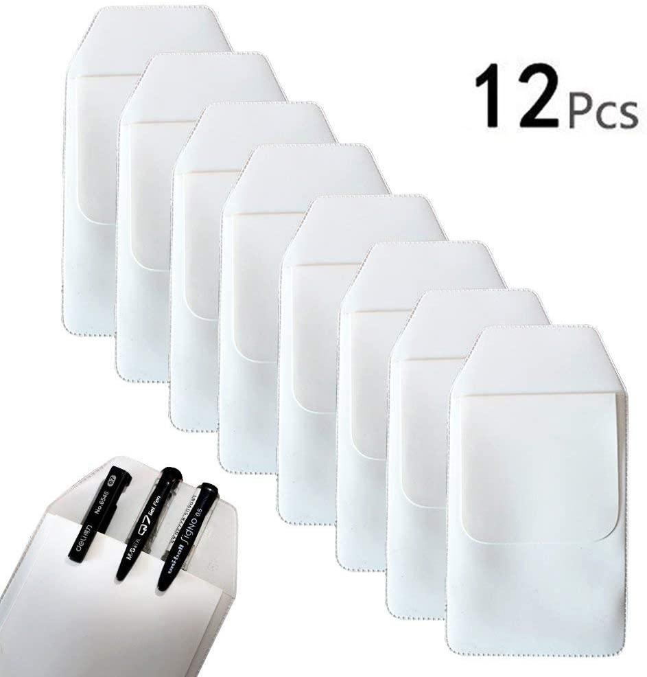 TKOnline 12 Pcs White Classical Heavy Duty Pocket Protectors for Pen Leaks School Hospital Office Supplies School Supplies,White Pen,Pocket Protector,Pocket Pen,Heavy Pen