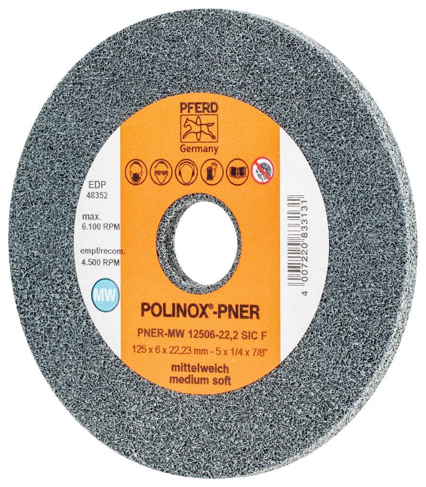 PFERD 48352 POLINOX PNER Unitized Non-Woven Abrasive Wheel, Silicon Carbide, 5 Diameter x 1/4 Width, 7/8 Arbor Hole, Fine Grit, 6100 RPM