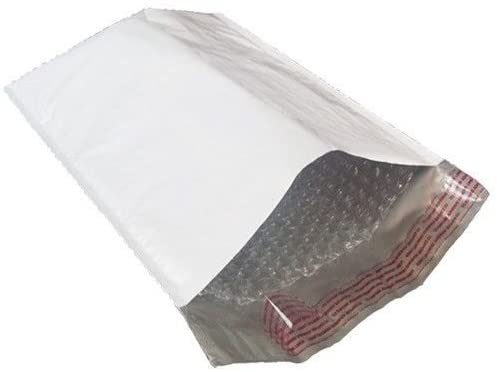 25 Pack Mailers Poly Bubble Envelope 4 x 8(Inner 4 x 7) in White Opaque Adhesive