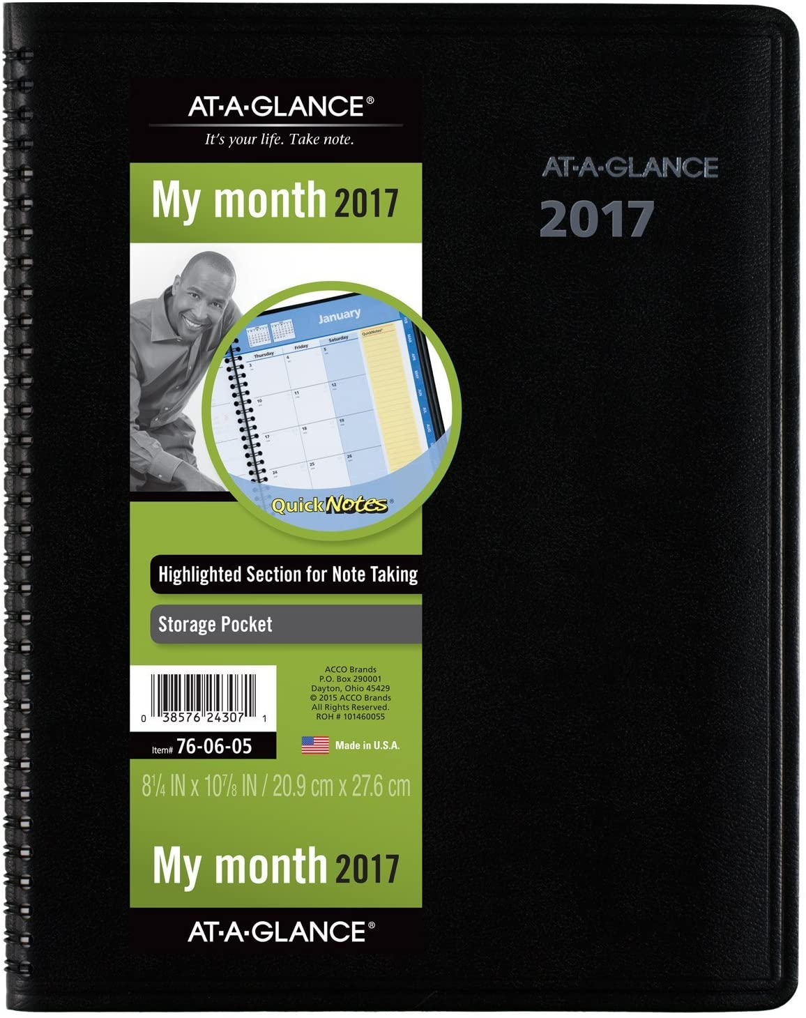 AT-A-GLANCE Monthly Planner / Appointment Book 2017, QuickNotes, 8-1/4 x 10-7/8