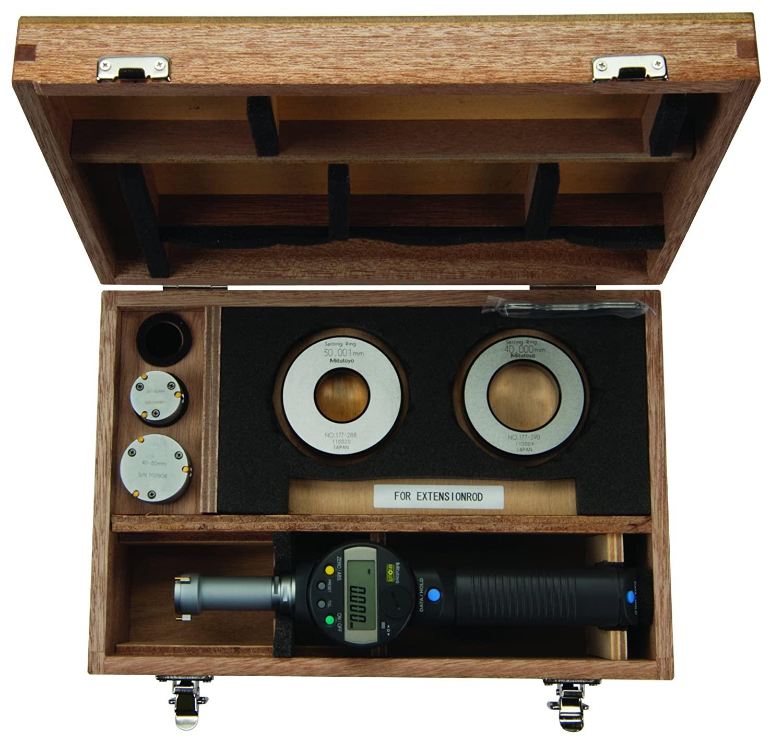 Mitutoyo 568-926 Borematic LCD Bore Gauge Interchangeable Head Set, 25-50mm Range, 0.001mm Resolution, +/- 0.006
