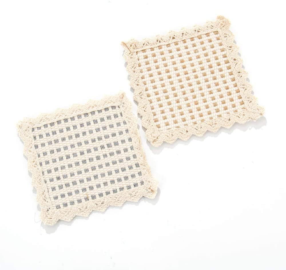 JaneOft 4PCS Cotton knit Coasters, Farmhouse Absorbent Drink Pats Mats