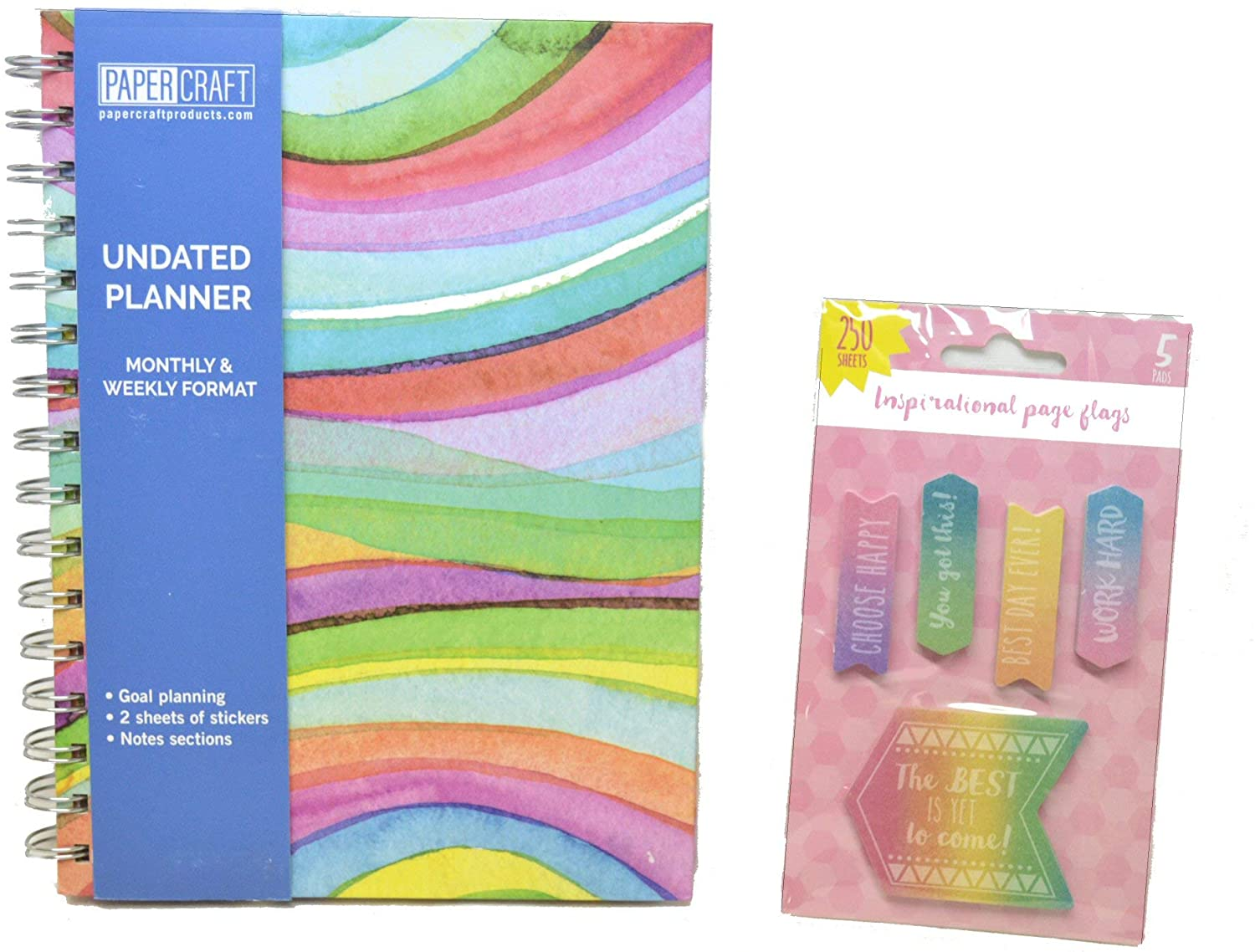 Monthly and Weekly Planner Bundle   5-1/2 by 8 Inches   Undated with Stickers and Page Flags   Rainbow Waves Design