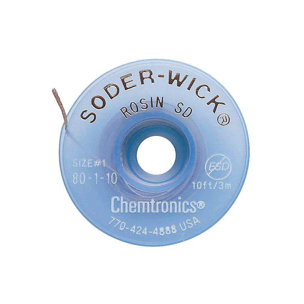 CHEMTRONICS 80-1-10 Braid, DESOLDERING, Rosin SD, 10FT