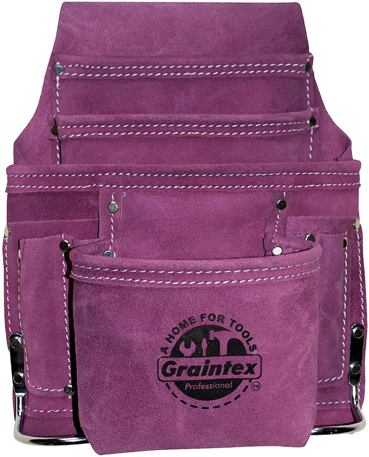 Graintex SS1123 10 Pocket Nail & Tool Pouch Purple Color Suede Leather for Constructors, Electricians, Plumbers, Handymen