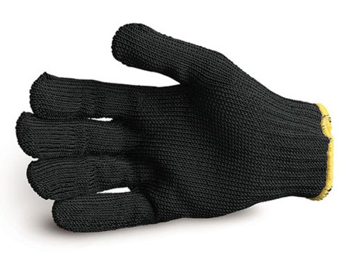 Superior SPWBL Rhino Dyneema/Stainless-Steel Wirecore Composite Knit Glove, Work, Cut Resistant, 7 Gauge Thickness, X-Small, Black