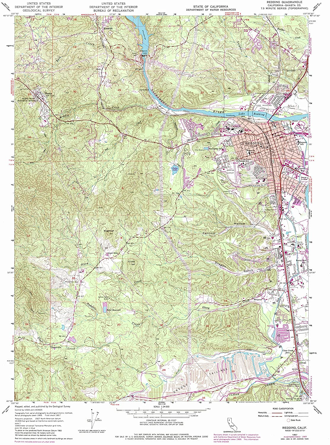 Map Print - Redding, California (1957), 1:24000 Scale - 24