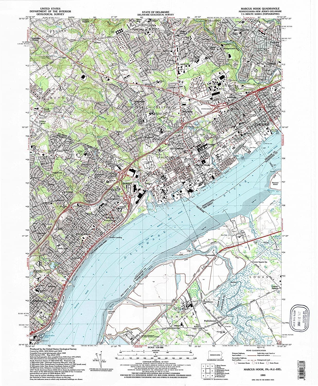 Map Print - Marcus Hook, Pennsylvania (1993), 1:24000 Scale - 24