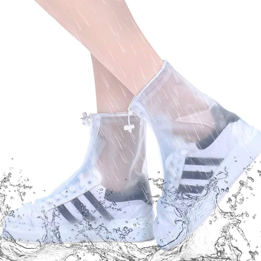 LIHEXING Waterproof Shoe Cover,Reusable Snow Rain Boot Covers Non Slip for Men Women Kids Outdoor(XL,White)