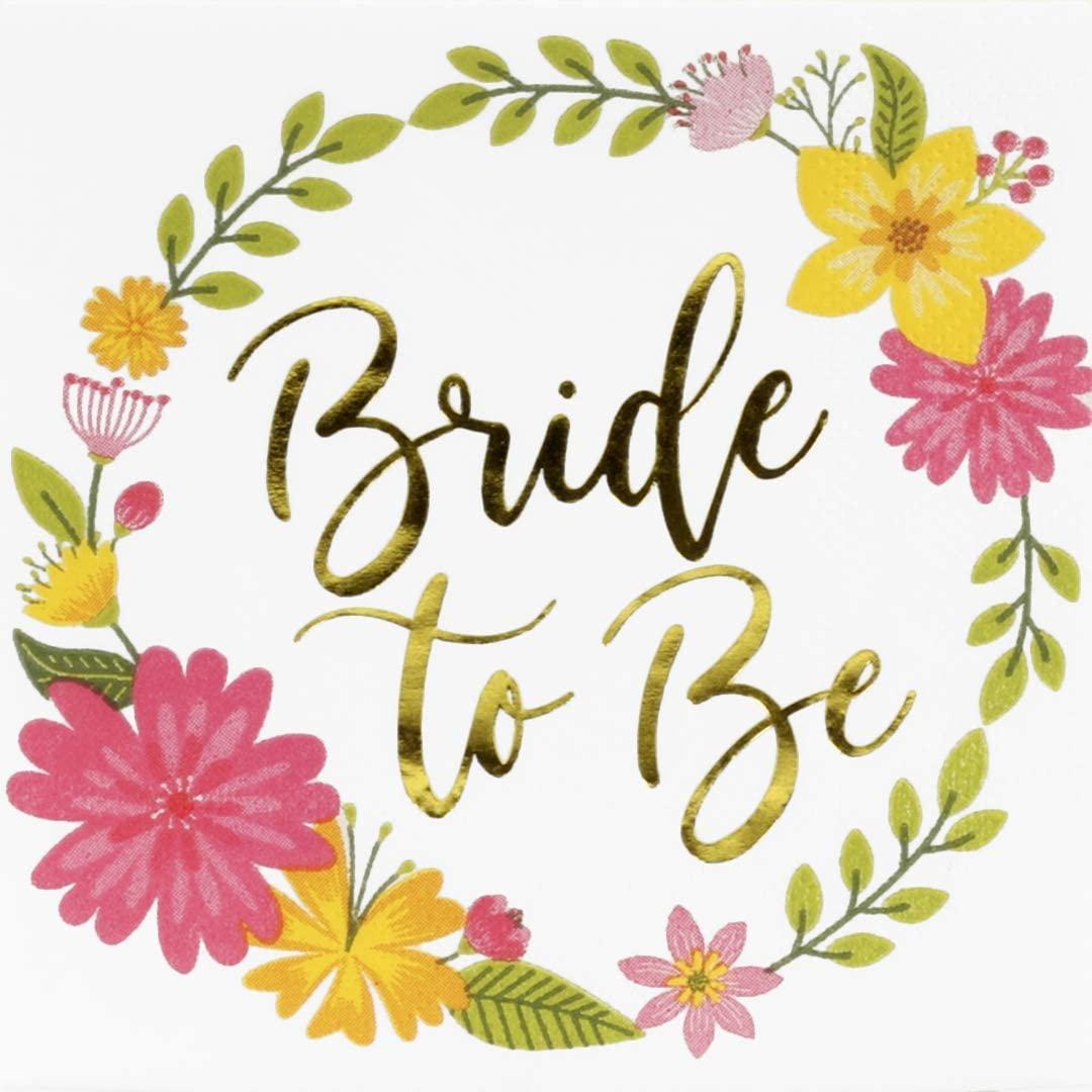Andaz Press Beverage Napkins Floral Wreath, Gold Foil Bride to Be, 5-inch, 50-Pack, Cocktail Napkin Print for Wedding Bridal Shower, Engagement Party, Party Napkins in Bulk