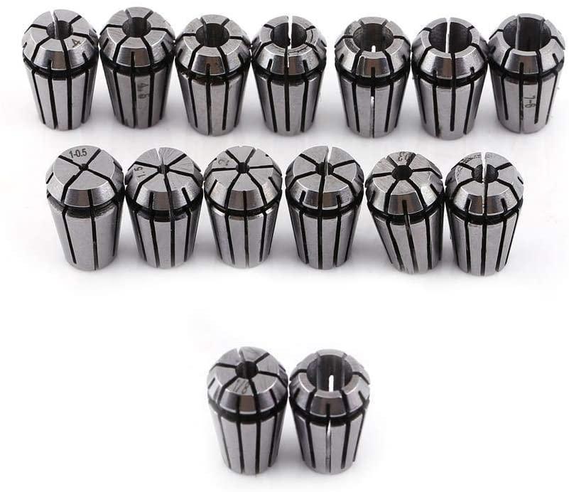 Nikou Collet Set, ER11 Spring Collet Set for Milling Lathe Tool & CNC Engraving Machine 15pcs