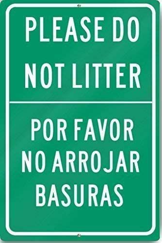 Jesiceny Great Tin Sign Aluminum Please Do Not Litter English/Spanish Sign Heavy Outdoor & Indoor Sign Wall Decoration 12x8 INCH