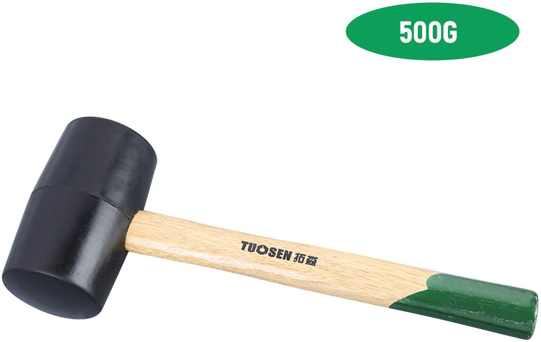 KKmoon 60500 Black Rubber Mallet Dual Face Tile Hammer with Wooden Handle