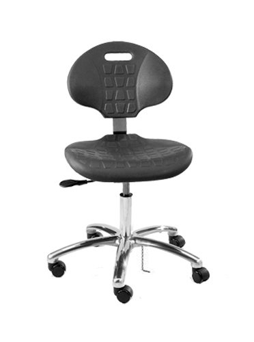 Bevco 7050ECARD5S Series Class 10 Certified Cleanroom Ergonomic ESD Chair with Casters, Polished Aluminum Base, 17