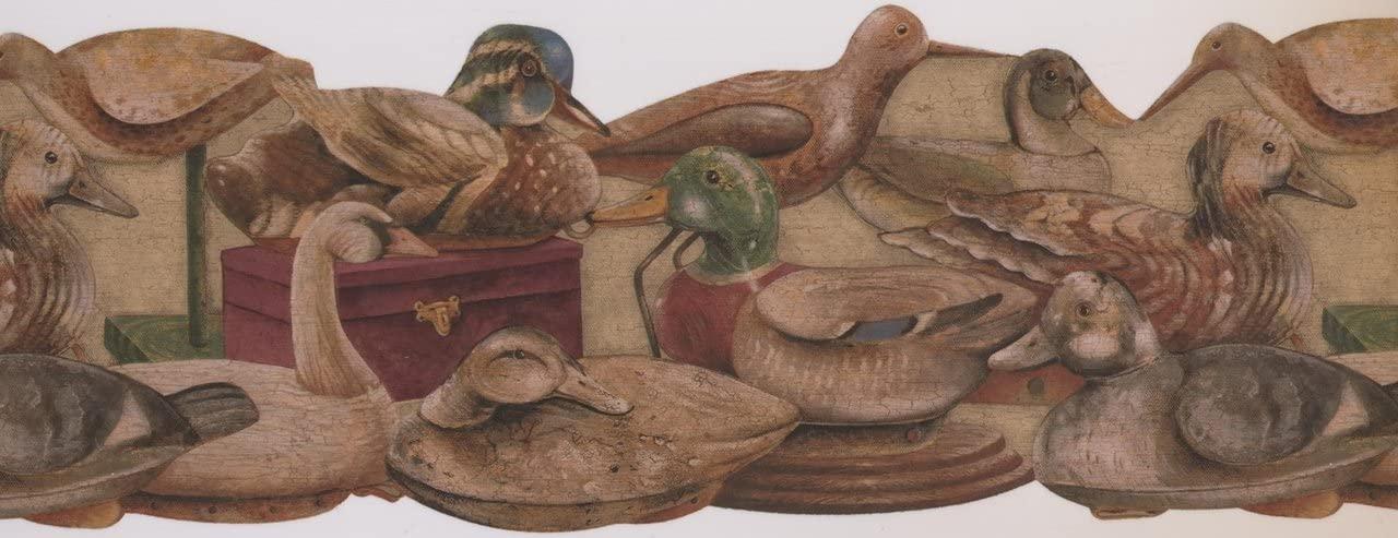 Wooden Vintage Ducks Beige ADV2026B Wallpaper Border