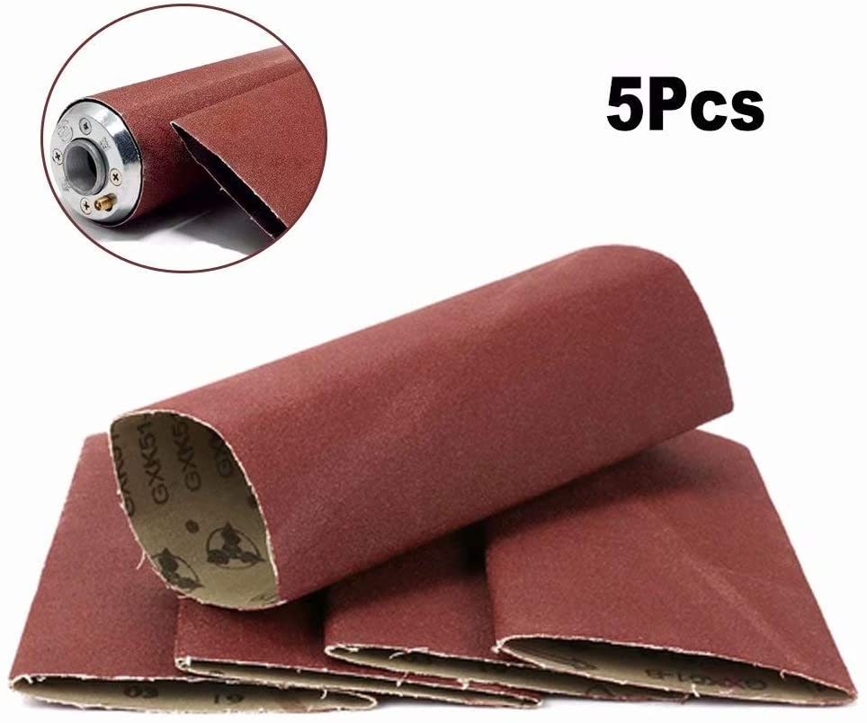 5Pcs Polishing Sanding Belt Fits 3x9 Expandable Rubber Drum Sander for Wood, Furniture and other Non-Metal Polishing 180 Grit