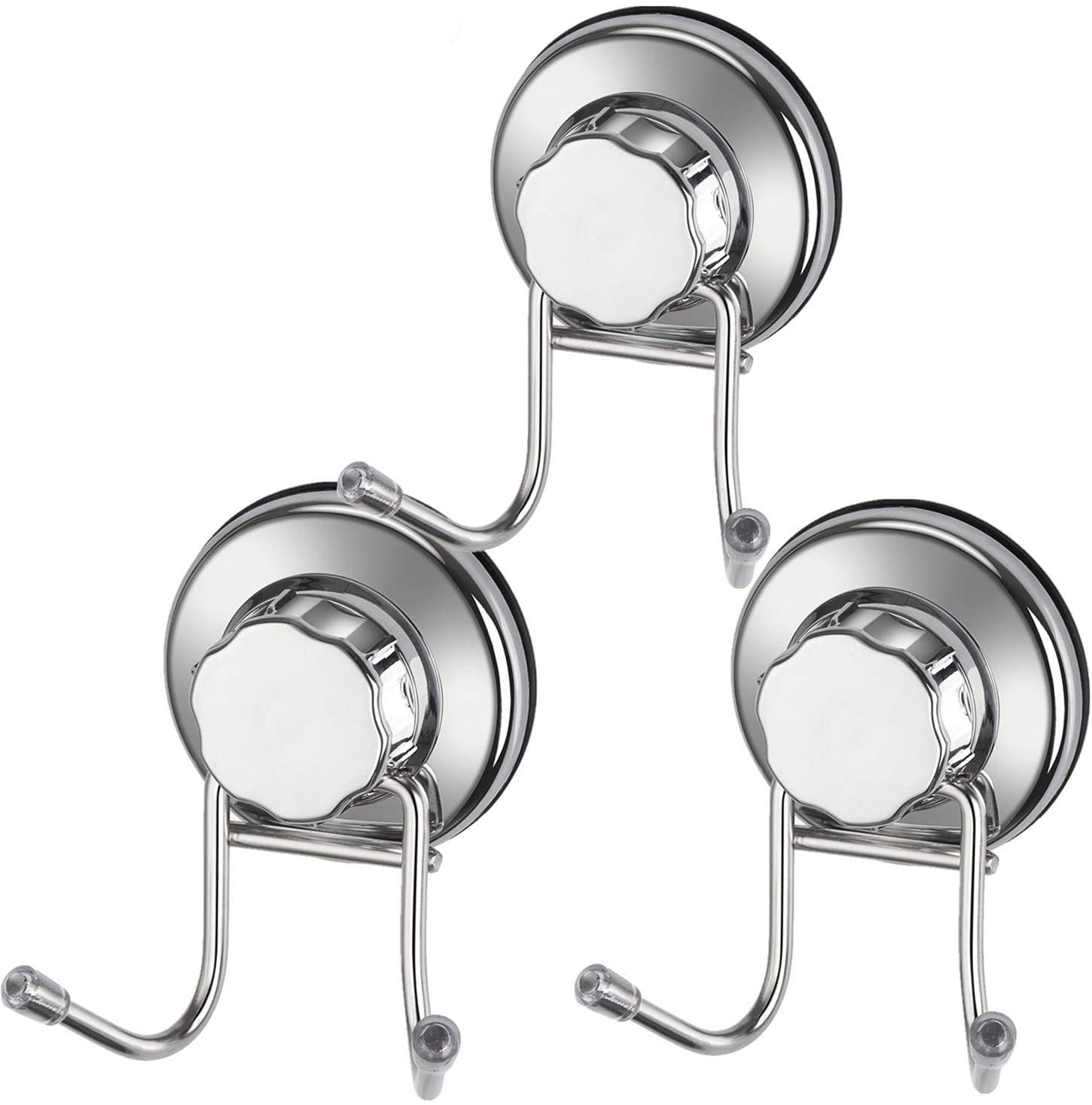 iPEGTOP Double Hook Suction Cup Vacuum Hooks Kitchen Towel Hooks Removable Wall Holder Robe Hangers, Utility Hooks for Flat Smooth Tile, Glass and Mirror, 3 Pack