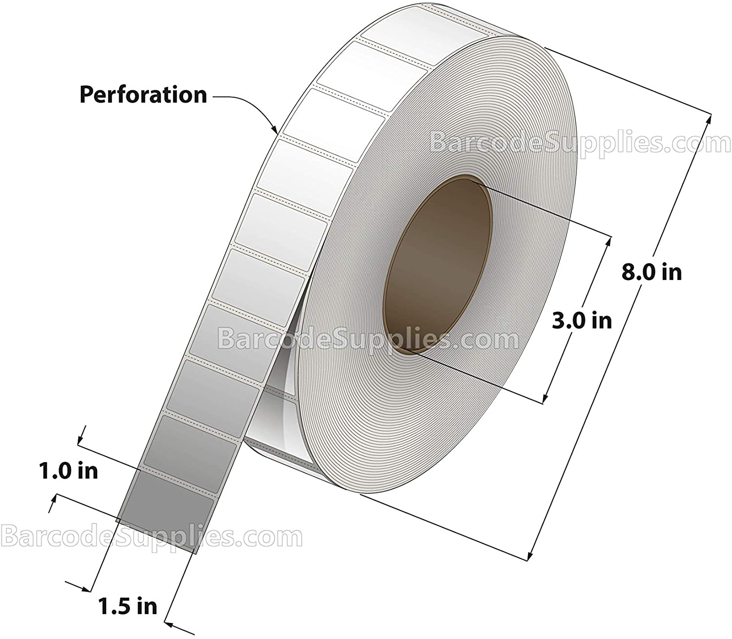 1.5 x 1 Thermal Transfer Paper Labels - Ribbon Required - 5500 Labels/Roll - 4 Rolls - for Zebra, Datamax, Sato and Intermec Thermal Transfer Printers
