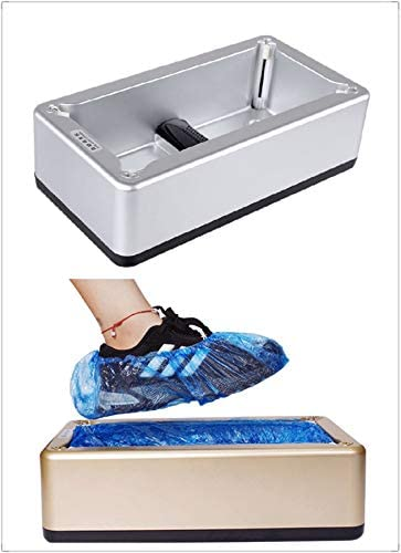 Premium Automatic Shoe Cover Dispenser Machine with 200 Pack Waterproof Disposable Shoe Covers for Household, Lab, Office, Hands Free (Silver)