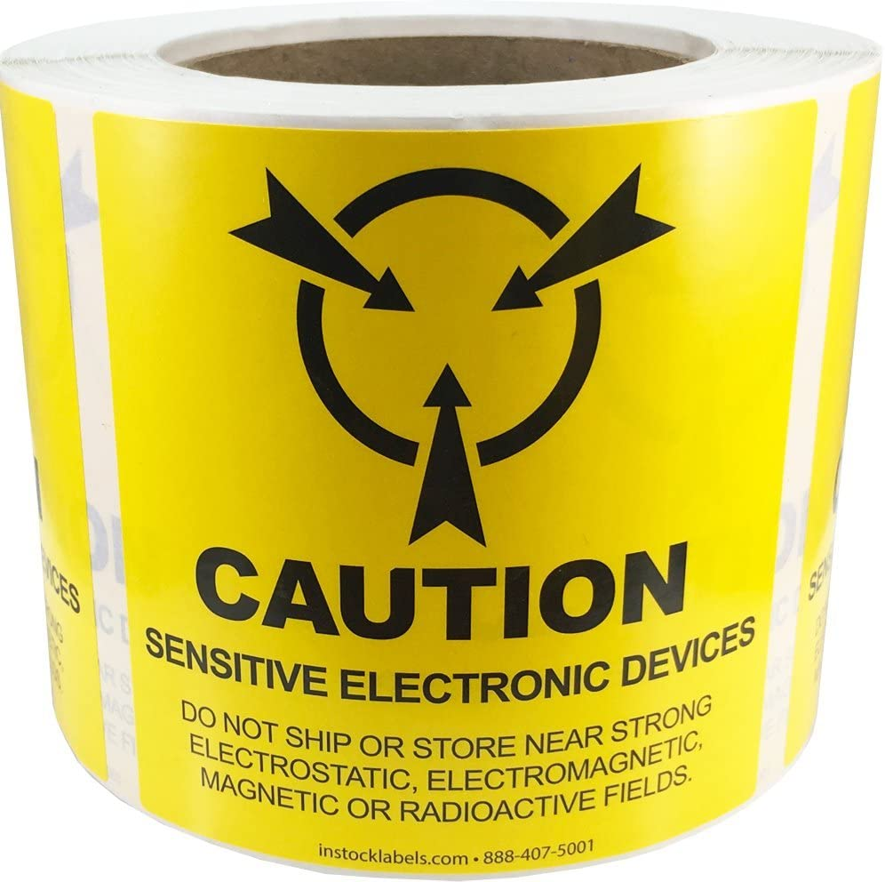 Caution Sensitive Electronic Devices Labels 4 x 4 Inch 500 Adhesive Stickers