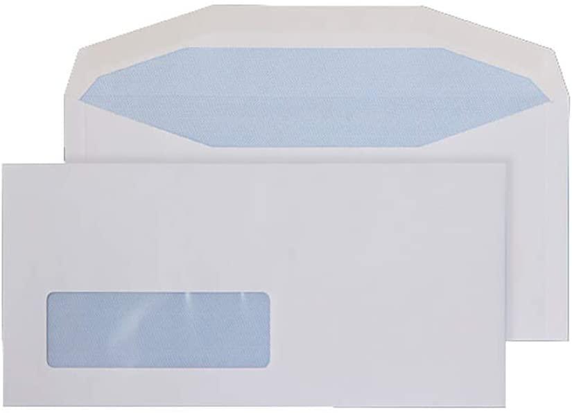 Blake Purely Everyday DL+ 114 x 235 mm 90 GSM Gummed Mailer Window Envelopes (3998LW) White - Pack of 1000