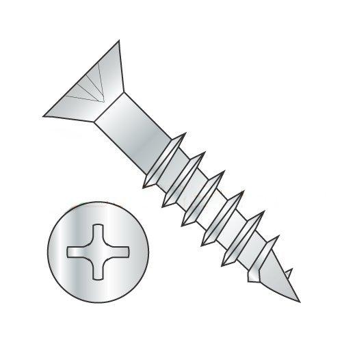 #8 x 2 Deep Thread Wood Screws/Phillips/Flat Head/Steel/Zinc/No Nibs/2/3 Thread (Carton: 3,500 pcs)