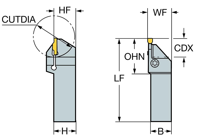 Sandvik Coromant LF123H22-2020D Steel CoroCut 41641 Shank Tool for Parting and Grooving Holder, 0.87