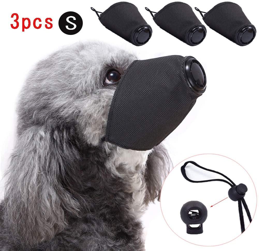 Linkinghome Dog Protective Muzzle, Adjustable Pet Respirator Muzzle Dog Face Mouth Muzzle Breathable Soft Cotton Mouth Muzzle, 3 Pcs