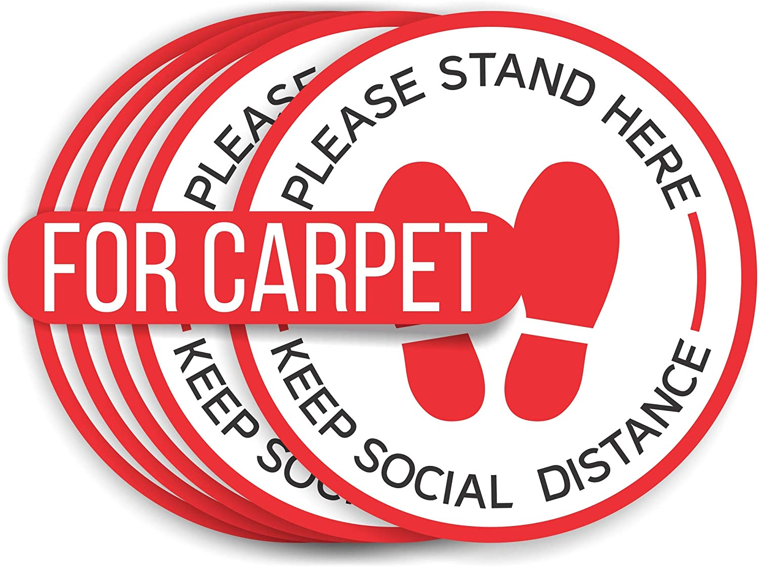 Social Distancing Floor Decals for Carpet | 6 Feet Notice Floor Sign for Queues, Lines | Anti-Slip Safety Notice Floor Marker | Commercial Grade Stand Here Sign for Businesses, Restaurants (5)