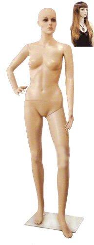 Female Mannequin K, Fleshtone Plastic w/ Base & Wig. Face 3