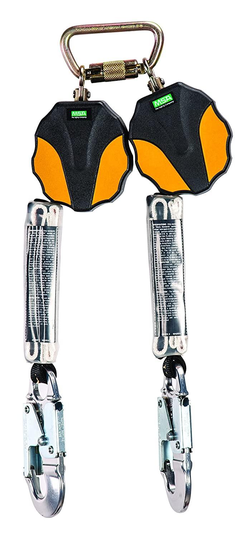 MSA 10157855 Workman Mini Personal Fall Limiter, Twin-Leg, AL36C Aluminum Snap Hook, CSA, 6' Length