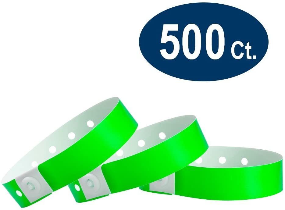 WristCo Neon Green Plastic Wristbands - 500 Pack Wristbands for Events