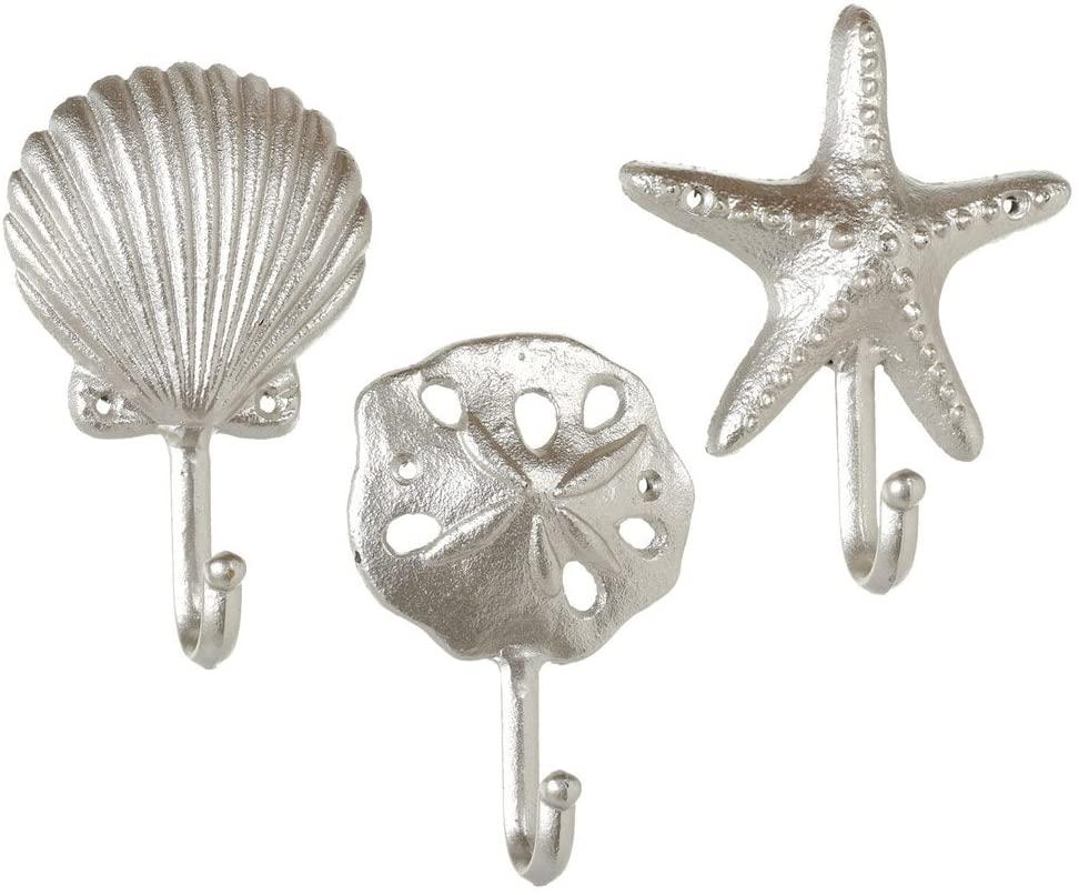 Set of 3 Assorted Midwest CBK Elegant Silver Cast Iron Sea Shells Wall Hooks
