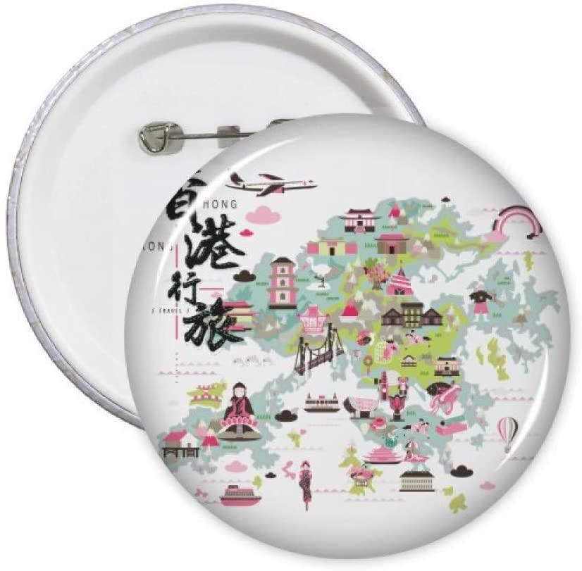 Welcome to China Hong Kong Map Pins Badge Button Emblem Accessory Decoration 5pcs