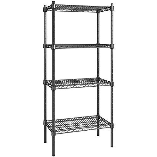 14 inch x 24 inch Certified Black Epoxy 4 Shelf Kit with 54 inch Posts. Storage Shelf. Garage Storage Shelves. Shelving Units and Storage. Food Storage Shelf. Storage Rack. Bakers Racks
